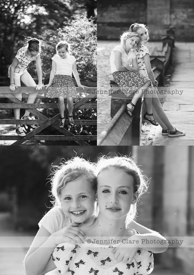 Black and white photographs of sisters, created at Elvaston, Derbyshire.