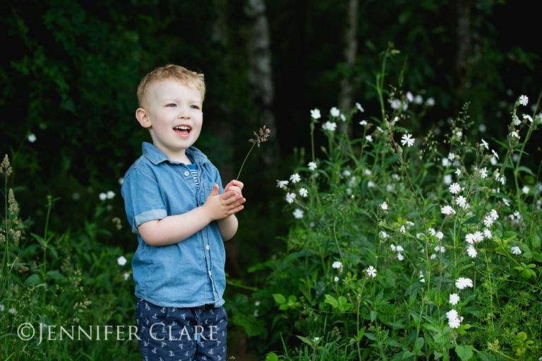 A little boy photographed among the wild flowers in Darnford Park, Lichfield, Staffs